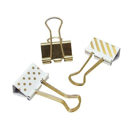 Binder Dourado Estampas Sortidas 25mm