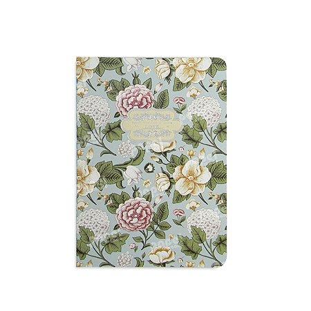 Caderninho Azul Flores Vintage