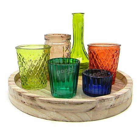Castiçal Decorativo de Vidro com 7 Peças