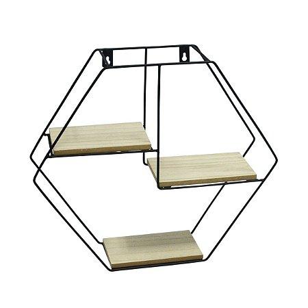 Prateleira Geométrica Decorativa com 3 Divisões