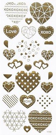Adesivo Foil Dourado Corações Geométricos