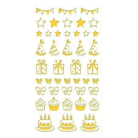 Adesivo Mini Foil Dourado Festa