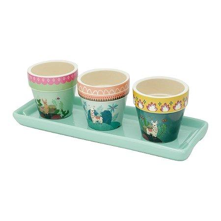 Conjunto Vasinhos Decorativos Lhama