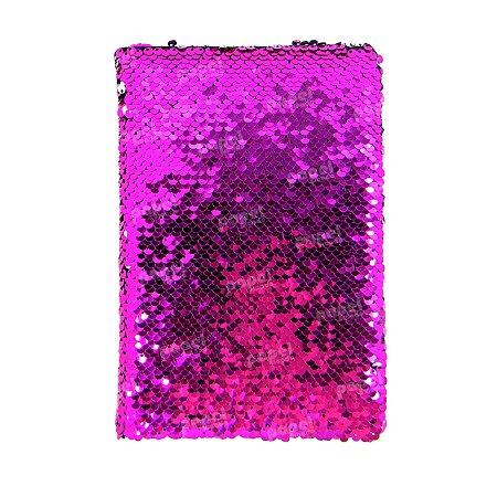 Caderneta Lantejoula Reversível Pink e Prata