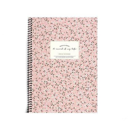 Caderninho Espiral Floral Rosa