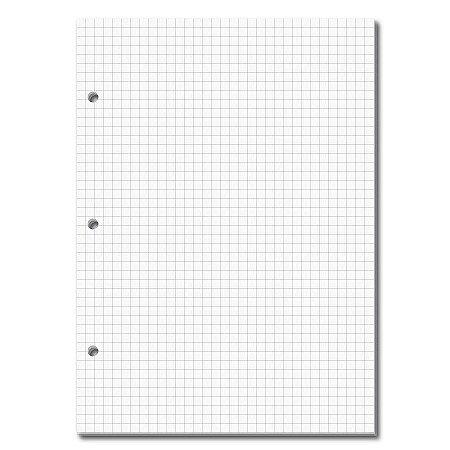 Refil Caderno Fichário 3 Furos Quadriculado 165x230mm