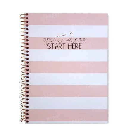 Caderno Soho Listras Rosa Pastel 160 Folhas