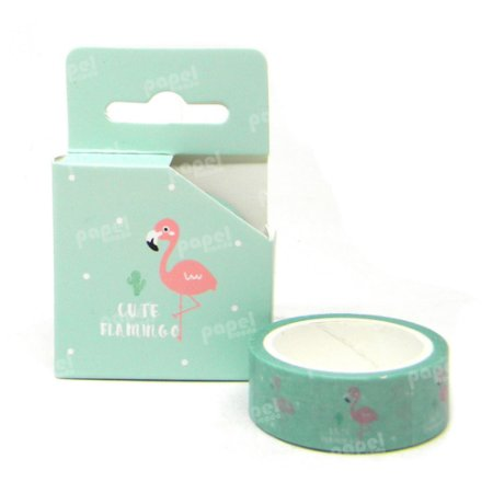 Fita Adesiva Washi Tape Flamingo Verde