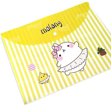Pasta Envelope Flexível Amarelo Listrado