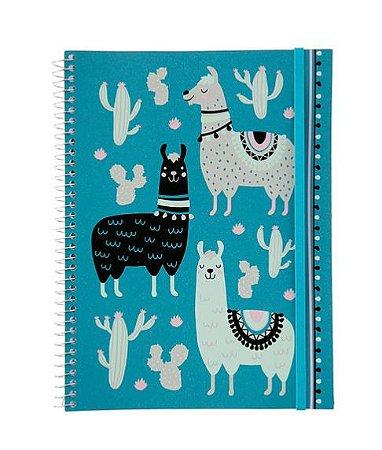 Caderno Flexível Lhama e Cactos 96 folhas