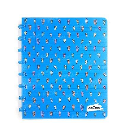 Caderno de Discos Azul Corações A5
