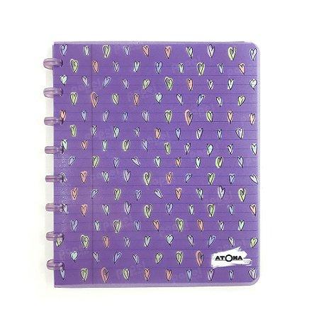 Caderno de Discos Roxo Corações A5