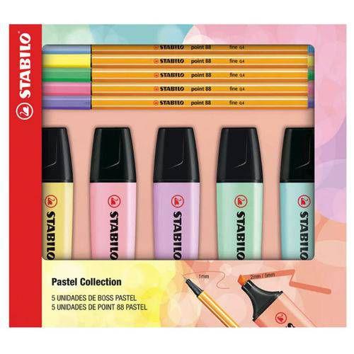 Kit Stabilo 5 Cores Boss Pastel + 5 Cores point 88 Pastel