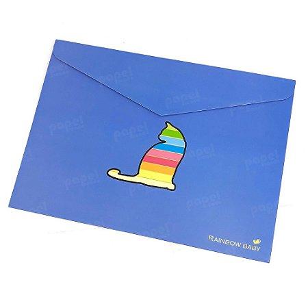 Pasta Envelope Gato Azul