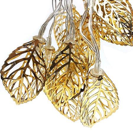 Varal de Luz Folhas Douradas