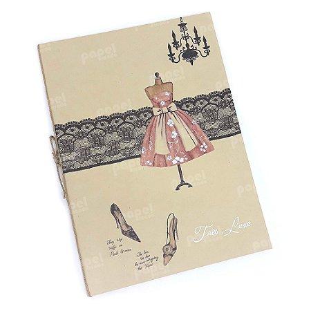 Caderno Brochura Kraft Manequim Rosa