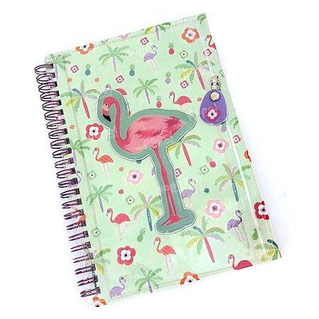 Caderno Espiral Com Bolso Flamingo