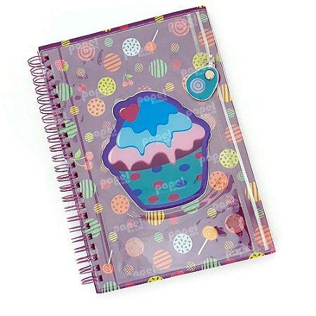 Caderno Universitário Espiral Com Bolso Cupcake