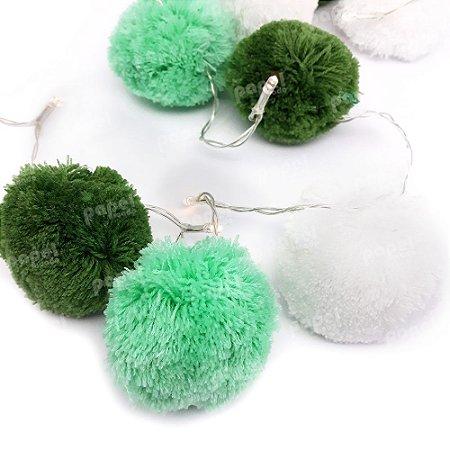 Varal de Luz Pompom Branco e Verde