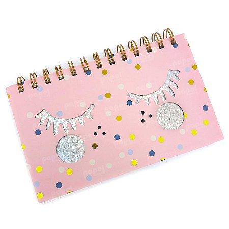 Caderninho Rosa com Olhos Brilhante