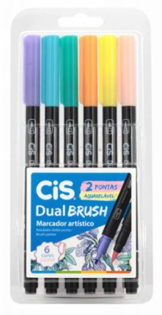 Conjunto Canetas Brush 6 Cores Pasteis