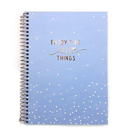 Caderno Soho Bolinhas Azul Pastel 80 Folhas