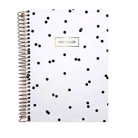 Caderno West Village Poás Branco 10 Matérias