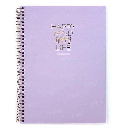 Caderno Happy Lilás 80 Folhas