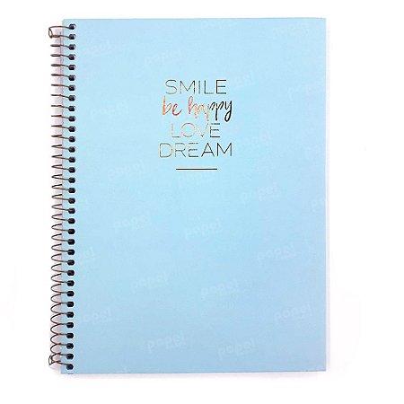 Caderno Happy Azul 80 Folhas