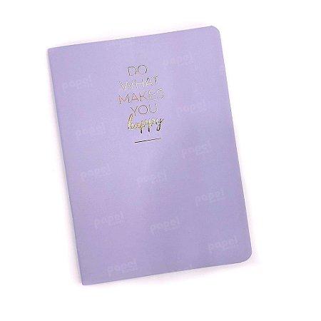 Caderninho Brochura Happy Lilás Pautado