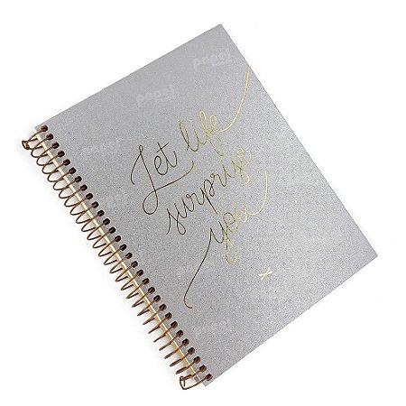 Caderno Shine Prata 01 Matéria Pontilhado
