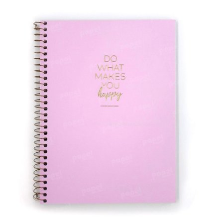 Caderno Médio Happy Rosa 80 Folhas