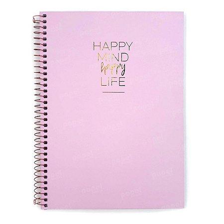 Caderno Médio Happy Rosa 160 Folhas