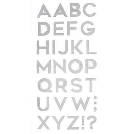 Adesivo Metalizado Alfabeto Prata