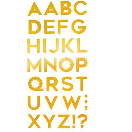 Adesivo Metalizado Alfabeto Dourado