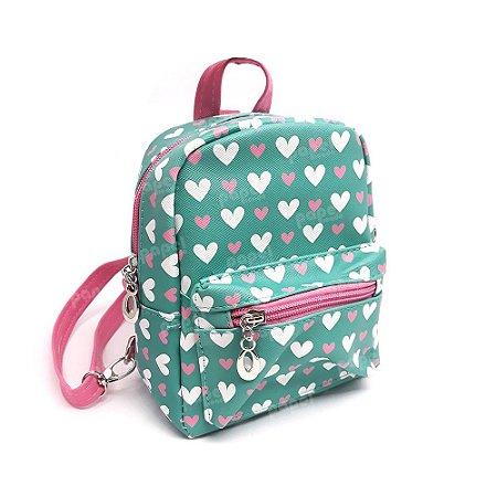 Mini Mochilinha Verde Corações