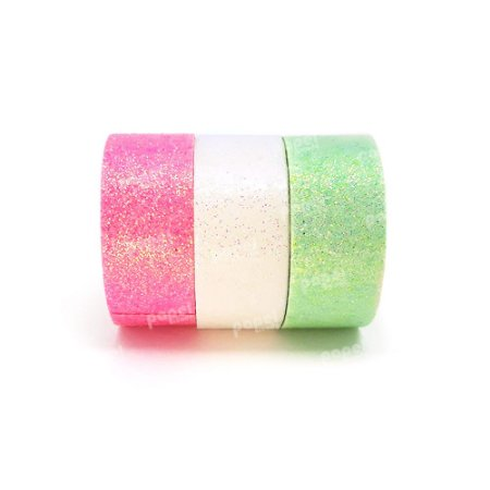 Conjunto Fita Adesiva Washi Tape Glitter Verde e Rosa