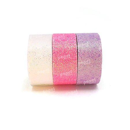 Conjunto Fita Adesiva Washi Tape Glitter Lilás e Rosa