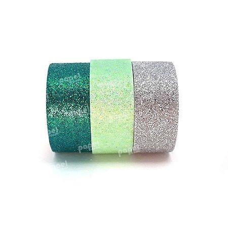 Conjunto Fita Adesiva Washi Tape Glitter Azul e Verde