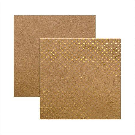 Folha de Scrapbook Kraft Estrelas Dourada