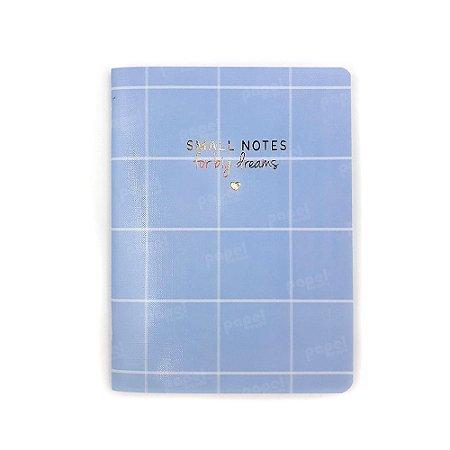 Caderninho Soho Quadriculado Azul Pastel Médio