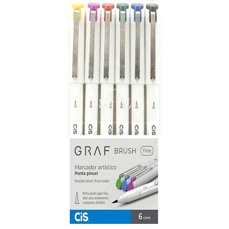 Kit Marcador Graf Brush 6 Cores