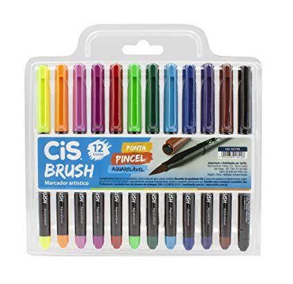 Conjunto Canetas Brush Aquarelável 12 Cores