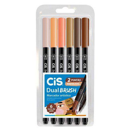 Conjunto Canetas Brush 6 Cores Tons de Pele