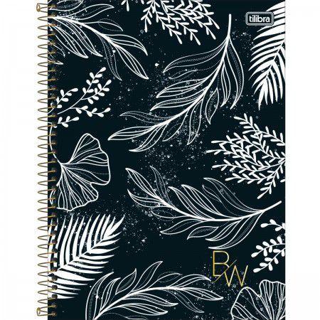 Caderno 160 Folhas Preto e Branco Plantas