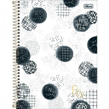 Caderno 160 Folhas Preto e Branco Bolas