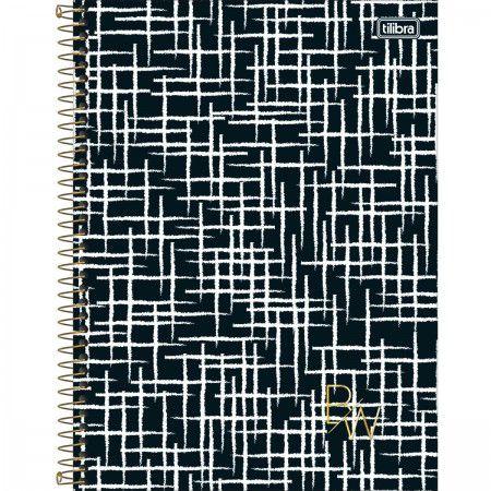 Caderno 160 Folhas Preto e Branco Listras