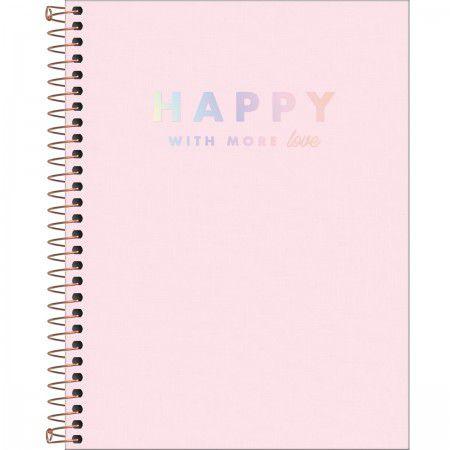 Caderno Happy Rosa Pastel 80 Folhas