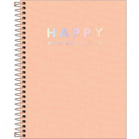 Caderno Happy Salmão Pastel 80 Folhas