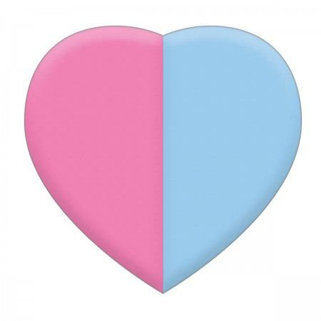 Borracha Coração Rosa e Azul